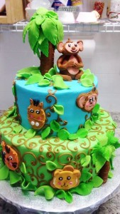 Qwirky Kakes 1 baby jungle shower cake