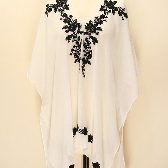 Embroidered Sheer Tunic Top