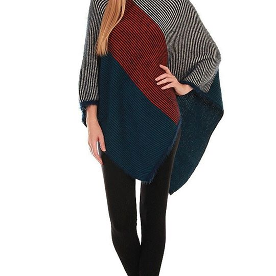 Navy & REd Poncho